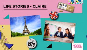 Collage with Eiffel Tower and girls at school