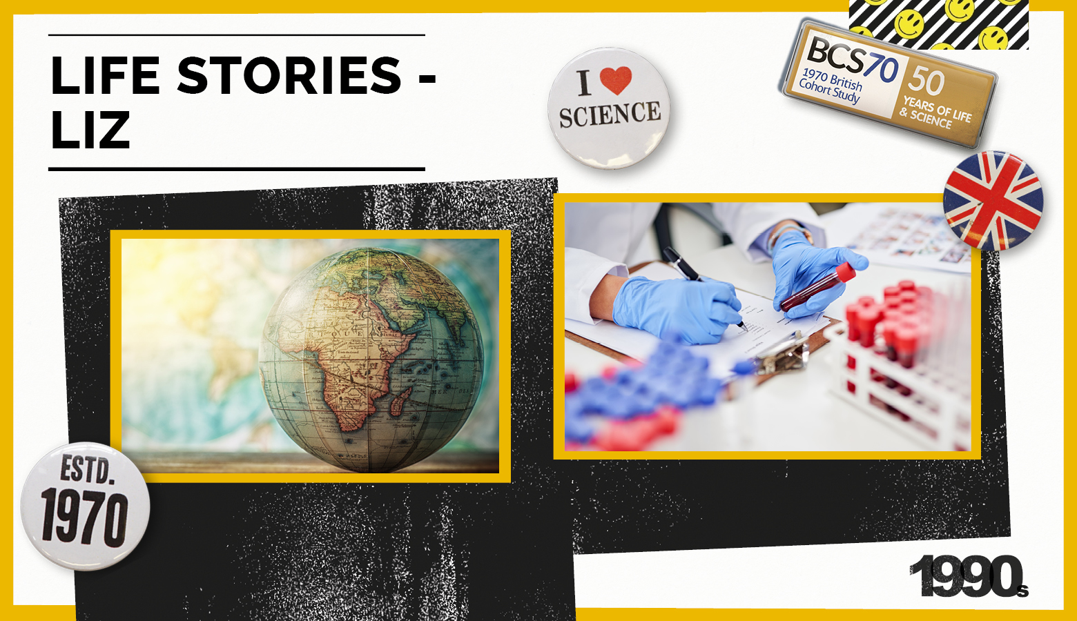 Collage of badges and pictures: globe, scientists
